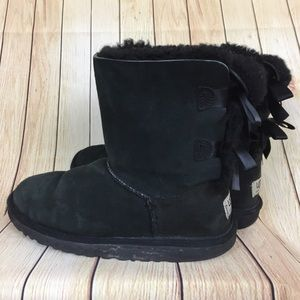 UGG Black Suede Bailey Bow Boots Size 4